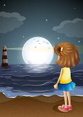 Illustration of a girl watching the lighthouse in the beach