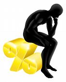 picture of thinker  - Thinker percentage rate concept man sitting on a gold percentage sign - JPG