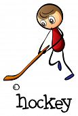 Illustration of a man playing hockey on a white background
