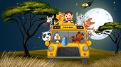 Illustration of a bus near the trees full of animals