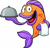 Cartoon waiter fish. Vector clip art illustration with simple gradients. Fish and tray on separate layers.