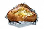 Baked Potato In Jackets With Butter And Pepper