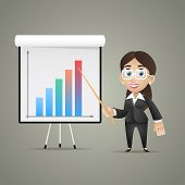 Business woman points on flipchart