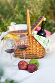 Outdoor Picnic Setting With Red Wine