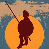 stock photo of hoplite  - Background grunge illustration with a greek hoplite spearman at the ready - JPG