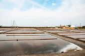 Salty Evaporation Ponds In Aveiro, Portugal