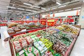 BEIJING,CHINA - FEB 12: Wal-Mart supermarket interior view on February  12th 2014 in Beijing. Wal-Ma