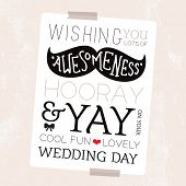 Fun mustache geek illustration happy wedding day card hipster cover typography design background tem