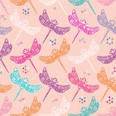 Seamless quirky colorful dragonfly kids illustration background pattern in vector