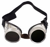 stock photo of protective eyewear  - photo blak welded protective spectacles on white background isolated close up - JPG