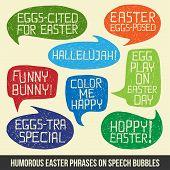 Happy Easter Humorous Phrases On Bubble Speeches