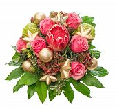 Fresh Pink Roses With Golden Christmas Decoration