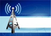 Internet Tower With Radio Waves Background Icon