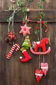 Handmade Christmas Decoration Over Rustic Wooden Background