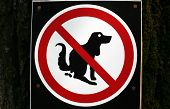 No pooping by dogs sign