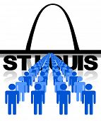 Lines of people with St Louis skyline vector illustration