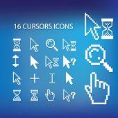 pixel cursors icons, signs set, vector