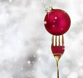 picture of recipe card  - Golden fork with Christmas ball in a glittery background - JPG
