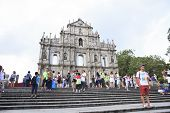 Macau China-august 22 : Tourist Standing And Take A Photo In Front Of Ruins Saint Paul's Cathedral I