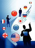 Tema de negocios con Internet bandera botones fondo