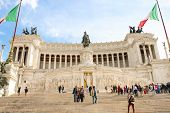 Tourists At The Monument To Victor Emmanuel Ii. Piazza Venezia, Rome  , Italy
