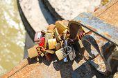Love Locks On The Bridge Across The Tiber In Rome, Italy