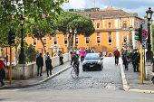 People On The Bridge Across The Tiber In Rome, Italy