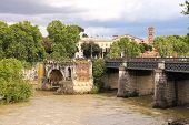 People On The Bridge Across The Tiber In Rome, Italy