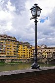 Details of Florence architecture along banks of river Arno near Ponte Vecchio bridge, Tuscany