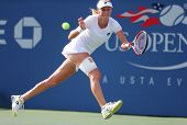 Professional tennis player  Ekaterina Makarova during fourth round match at US Open 2014