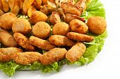 Deep Fried Food with Fresh Salad Leaf