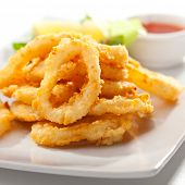 Deep Fried Calamari Rings. Selective Focus