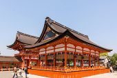 KYOTO, JAPAN - APRIL 27th : The temple building of Fushimi Inari Taisha Shrine in Kyoto, Japan on 27th April 2014.