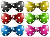 Illustration of different polka dot bow tie