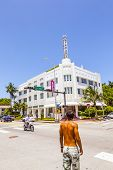 People At Beautiful Historic Buildings In  Miami In The Art Deco District