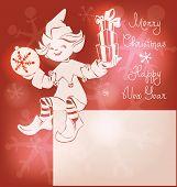 Santa elf on Christmas card, bunner, lettering