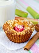 Cupcake With Rhubarb And Milk On Napkin