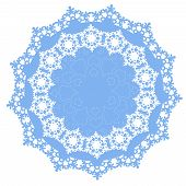 circular ornament with winter snowflakes