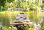 Old broken jetty at the lake