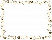 stock photo of paw-print  - bone and paw frame in sepia tones - JPG