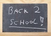 Blackboard In A Bright Wooden Frame Saying Back To School