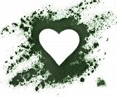 Spirulina powder - algae, nutritional supplement, shape heart surface top view isolated on white bac