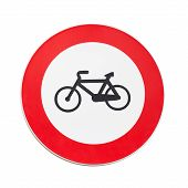 Bicycles Traffic Is Prohibited, Road Sign Isolated On White