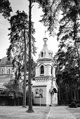 Orthodox Church in Jurmala, black and white