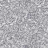 Vector vintage inspired seamless floral pattern with hand drawn roses