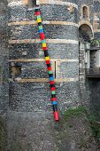 Colorful Bins On The Castle Wall, Angers (france)