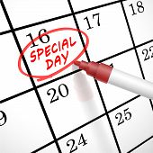 Special Day Words Circle Marked On A Calendar