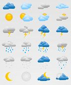 stock photo of rain  - Collection of 24 fully editable weather icons  - JPG