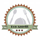 Vintage Bon Appetit Poster . Vector illustration.