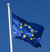 Flag Of European Union Fluttering In The Wind